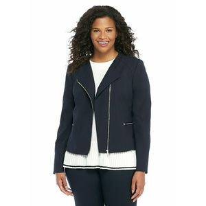 New! THE LIMITED Zip-Front Plus Blue Moto Jacket